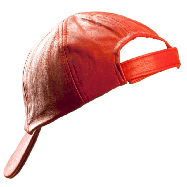 Solid Leather Red Baseball Cap